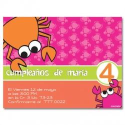 c0030 - Invitaciones de cumpleaños - Cangrejo.
