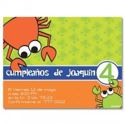 c0031 - Invitaciones de cumpleaños - Cangrejo.