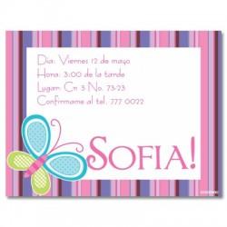 c0037 - Invitaciones de cumpleaños - Mariposa.