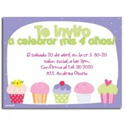 c0042 - Invitaciones de cumpleaños - Cup cakes.