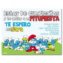 c0122 - Invitaciones de cumpleaños - Pitufos