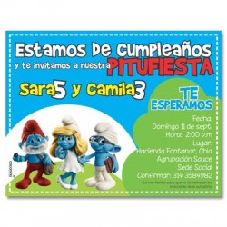 c0123 - Invitaciones de cumpleaños - Pitufos