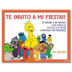 c0139 - Invitaciones de cumpleaños - plaza sesamo