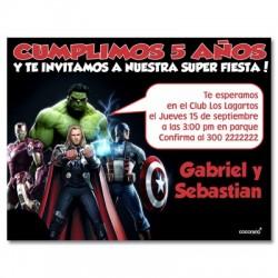 c0166 - Invitaciones de cumpleaños - Super heroes