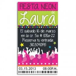 c0174 - Invitaciones de cumpleaños - Fiesta Neón