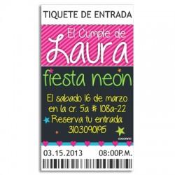 c0175 - Invitaciones de cumpleaños - Fiesta Neón 2