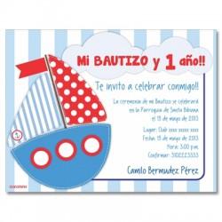 c0177 - Invitaciones de cumpleaños - Bautizo 1 año