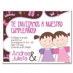 c0189 - Invitaciones de cumpleaños - gemelas