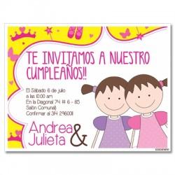 c0190 - Invitaciones de cumpleaños - gemelas 2