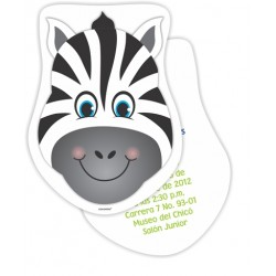 c0194 - Birthday invitations - zebra
