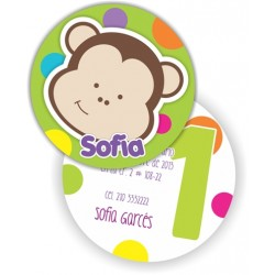 c0197 - Birthday invitations - monkey
