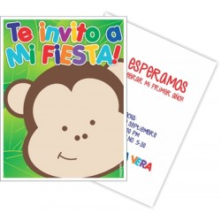 c0200 - Birthday invitations - monkey 2