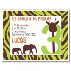 c0205 Verde - Invitaciones de cumpleaños - Safari