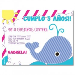 c0210 - Birthday invitations - whale