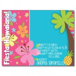 c0214 - Invitaciones de cumpleaños - Fiesta hawaiana