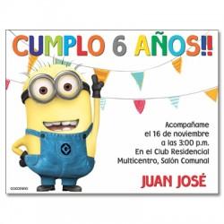 c0219 - Invitaciones de cumpleaños - minions 2