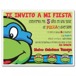 c0234 - Invitaciones de cumpleaños - tortugas ninja