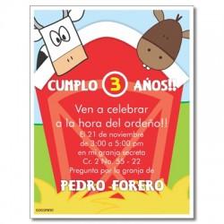 c0237 - Invitaciones de cumpleaños - granja 2