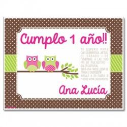 c0247 - Invitaciones de cumpleaños - Búhos