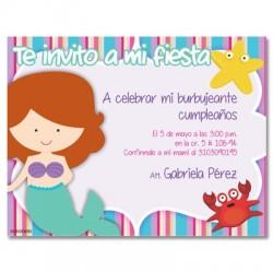 c0251 - Invitaciones de cumpleaños - Sirena
