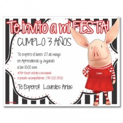 c0259 - Invitaciones de cumpleaños - Cerdito