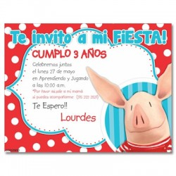 c0260 - Birthday invitations - Piggy