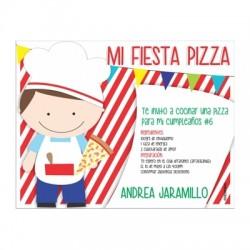 c0269 - Invitaciones de cumpleaños - Fiesta pizza