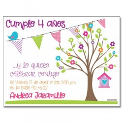 c0278 - Birthday invitations - Tree