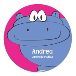 pr0019 - Tarjetas redondas - Hipopótamo.