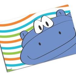 i0084 - Individual de mesa de papel - Hipopótamo