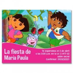 c0106 - Invitaciones de cumpleaños - Dora la ecploradora