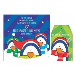 Bolsa, etiqueta y tarjeta para vino - Pingüino