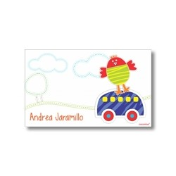 Label cards - bird and car