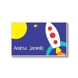 Label cards - rocket