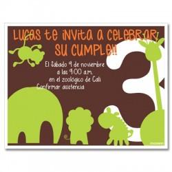 c0204 Verde - Invitaciones de cumpleaños - Safari