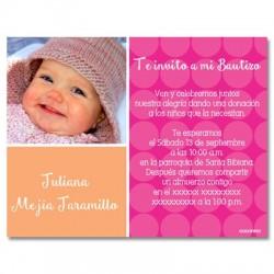 b0002 Rosado - Invitaciones - Bautizo - foto