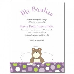 b0013 B Violeta - Invitaciones  Bautizo - Oso