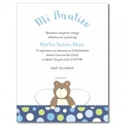 b0013 B  Azul - Invitaciones  Bautizo - Oso