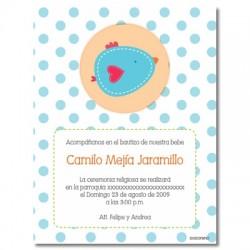 b0015 B Azul - Invitaciones  Bautizo - Pajaro