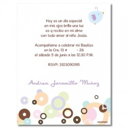 b0018 B Rosado - Invitaciones  Bautizo - Pajaro