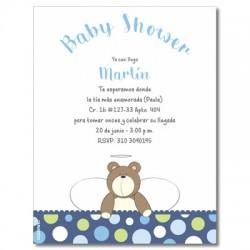 b0013 S Azul - Invitaciones - Baby Shower Oso