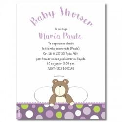 b0013 S Violeta - Invitaciones - Baby Shower Oso