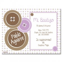 b0019 B Violeta - Invitaciones Bautizo