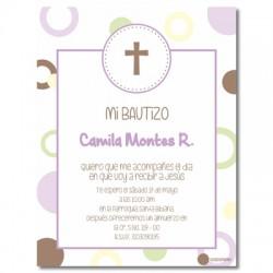 b0023 B Violeta - Invitaciones Bautizo