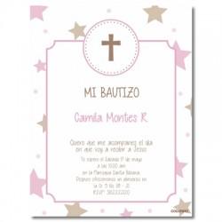 b0024 B Rosado - Invitaciones Bautizo