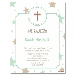 b0024 B Verde - Invitaciones Bautizo