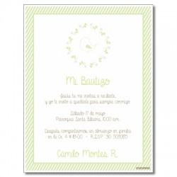b0025 B Verde - Invitaciones Bautizo