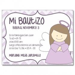 b0027 Violeta - Invitaciones - Bautizo