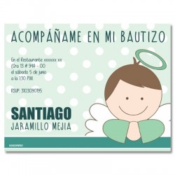 b0028 Verde - Invitaciones - Bautizo
