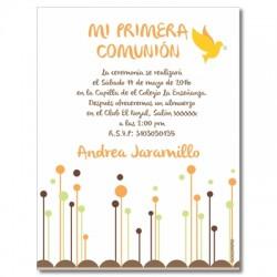 b0007C Naranja - Invitaciones Primera Comunion